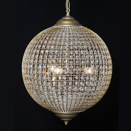 Large Gold Finish Globe Chandelier